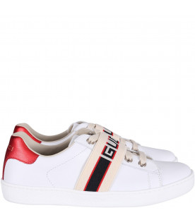White kids sneakers with blue and red logo
