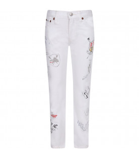 RALPH LAUREN KIDS White boy jeans with colorful prints
