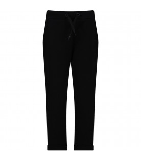 FENDI KIDS Black kids pants with iconic double FF