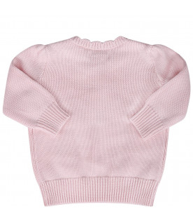 RALPH LAUREN KIDS Pink babygirl sweater with pink iconic bear
