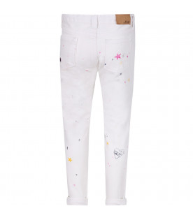 RALPH LAUREN KIDS Jeans bianco per bambina con stampe stelle colorate