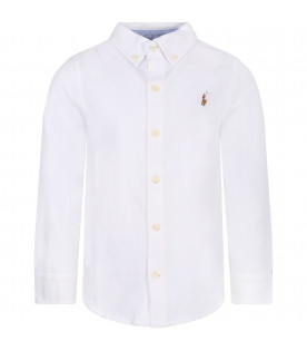 RALPH LAUREN KIDS White boy shirt with colorful iconic pony