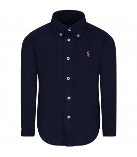 RALPH LAUREN KIDS Blue boy shirt with colorful iconic pony