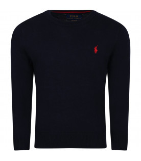 RALPH LAUREN KIDS Blue boy sweater with red horse