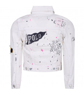 RALPH LAUREN KIDS White girl jacket with colorful prints and writing