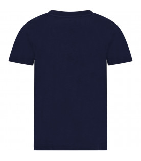 Blue T-shirt for boy with red pony logo