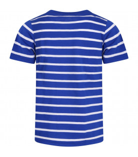 RALPH LAUREN KIDS White and blue boy T-shirt with iconic horse