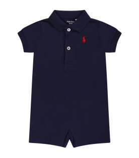 RALPH LAUREN KIDS Blue babyboy rompers with red iconic pony logo