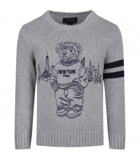 RALPH LAUREN KIDS Grey sweater with blue iconic bear
