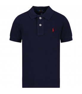 RALPH LAUREN KIDS Blue boy polo shirt with red iconic pony logo
