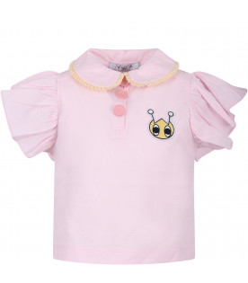 OWA YURIKA Pink girl polo shirt with colorful iconic patch