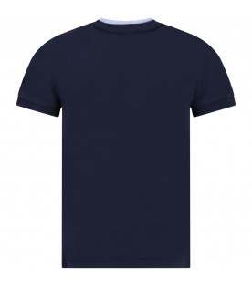 Blue boy T-shirt with light blue and white details