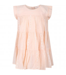 CHLOÉ KIDS Pink girl dress with sequins and pearls