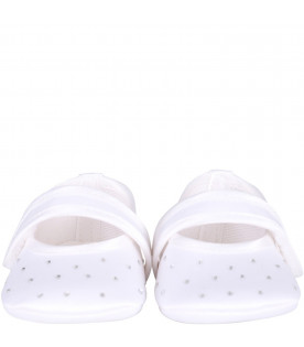 BLUMARINE BABY White babygirl flat shoes with all-over rhinestones