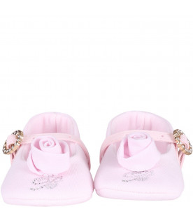 BLUMARINE BABY Pink babygirl flat shoes with logo