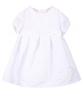 Abito bianco per neonata con rose all-over