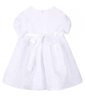 BLUMARINE BABY Abito bianco per neonata con rose all-over