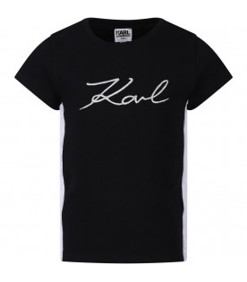 KARL LAGERFELD KIDS Black girl T-shirt with silver logo