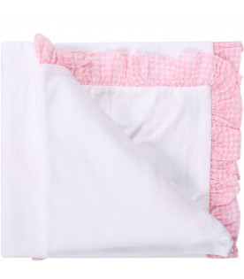 BLUMARINE BABY White babygirl blanket with heart and logo