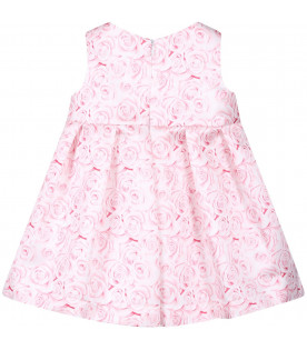 BLUMARINE BABY White babygirl dress with pink roses