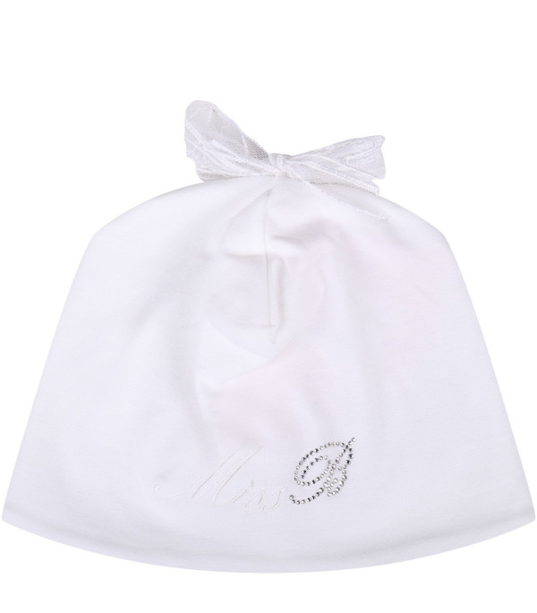 BLUMARINE BABY White babygirl hat with blue logo and bow