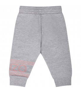 KENZO KIDS Grey babygirl sweatpants with pink logo