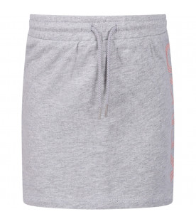 KENZO KIDS Grey girl skirt with pink logo