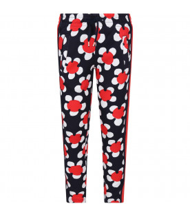 Blue girl sweatpants with flowers