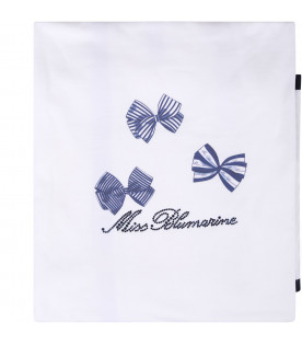 BLUMARINE BABY White babygirl blanket with blue logo