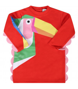 STELLA MCCARTNEY KIDS Red babygirl dress with colorful toucans