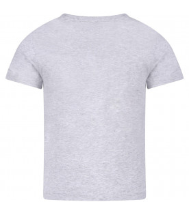 KARL LAGERFELD KIDS Grey boy T-shirt with red and white logo