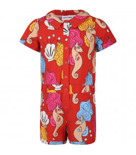 MINI RODINI Red girl summersuit with colorful seahorses