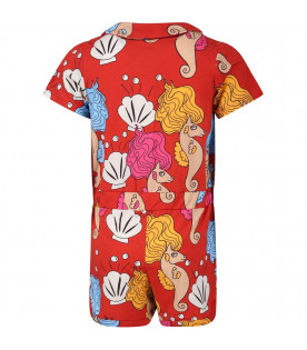 Red girl summersuit with colorful seahorses