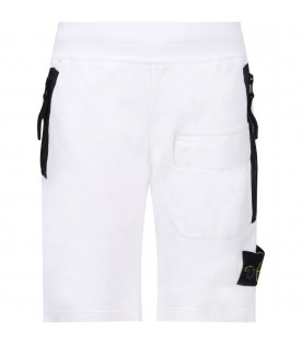 STONE ISLAND JUNIOR Short bianco per bambino con iconico patch