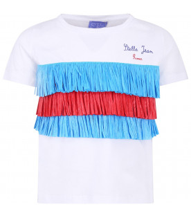 STELLA JEAN KIDS White girl T-shirt with blue and red logo
