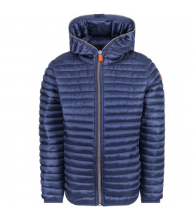 SAVE THE DUCK KIDS Bluette girl jacket with orange logo