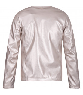 HERNO KIDS Gold girl jacket with metallic logo