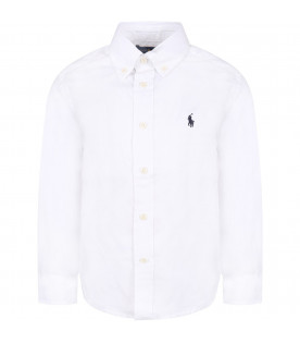RALPH LAUREN KIDS White boy shirt with blue iconic pony