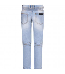 BALMAIN KIDS Light blue boy jeans with silver logo