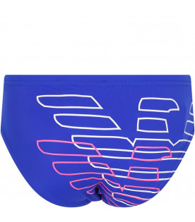 ARMANI JUNIOR   Royal blue boy slip beachwear with white logo