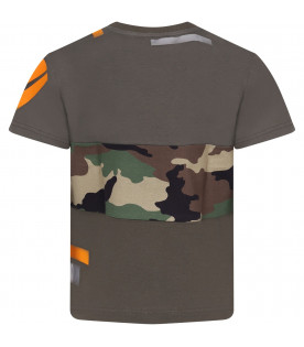 DOLCE & GABBANA KIDS Military green boy T-shirt with orange logo