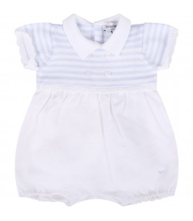 ARMANI JUNIOR   White and light blue babyboy romper with iconic eagle