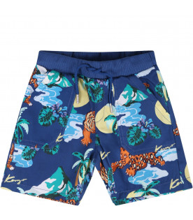 KENZO KIDS Blue babyboy short with all-over tigers