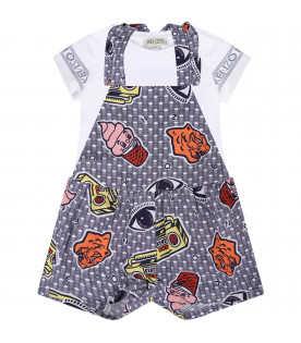 KENZO KIDS White and blue babygirl overall with colorful logos