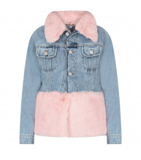 NATASHA ZINKO Light blue girl jacket with pink fur