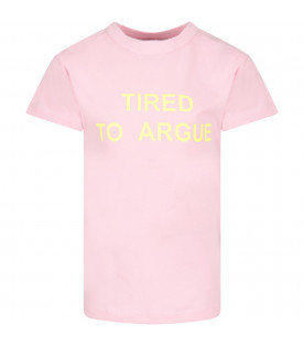 NATASHA ZINKO Pink girl T-shirt with neon yellow writing