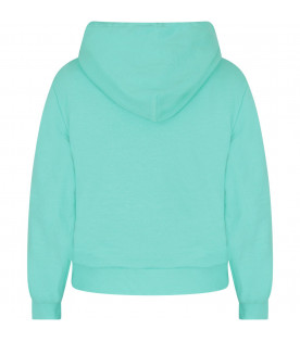 NATASHA ZINKO Teal girl sweatshirt with noen yellow logo