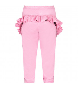 NATASHA ZINKO Pink girl pants with ruffles