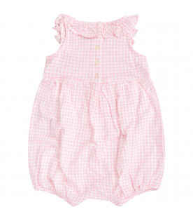 RALPH LAUREN KIDS White and pink babygirl rompers with iconic pony logo