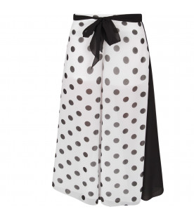 Black and white girl pants with polka-dots